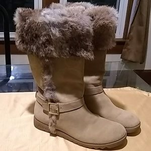 Coach suede and rabbit fur boots